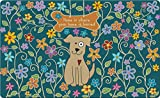 Toland Home Garden Dog Bone Blue 18 x 30 Inch Decorative Flower Floor Mat Puppy Home Doormat