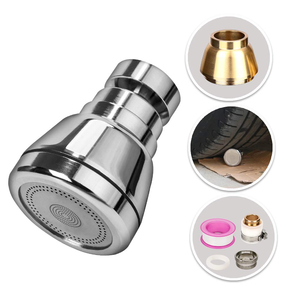 Swivel Kitchen Sink Faucet Aerator, Solid Brass High Pressure Spray Replacement Head, Leak-Proof Water Saving Faucet for Kitchen