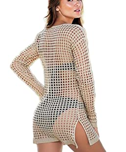 Hosaire 1X Femme d'été Mini Robe Crochet Bikini Cover Up S/M/L