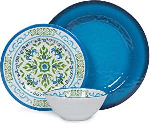 Melamine Dinnerware Set for 4, 12pcs Break-resistant Bowls and Plates Set for Camper Use, Service for 4, Dishwasher Safe, Indoor Outdoor Use