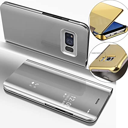 Isaderser Galaxy S6 Edge Case Flip Glitter Slim Mirror Wallet Shockproof Clear View Flip Electroplate Plating Mirror Makeup Closure Body Protective
