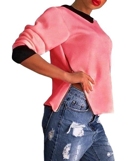 ZANZEA - Camiseta de manga larga - para mujer Rosa rosa 34