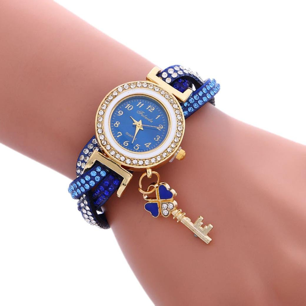 Amazon.com: Womens Watch,Fashion Wrap Around Diamond Bracelet Padlock Wristwatch with Pendant Axchongery (Blue): Clothing