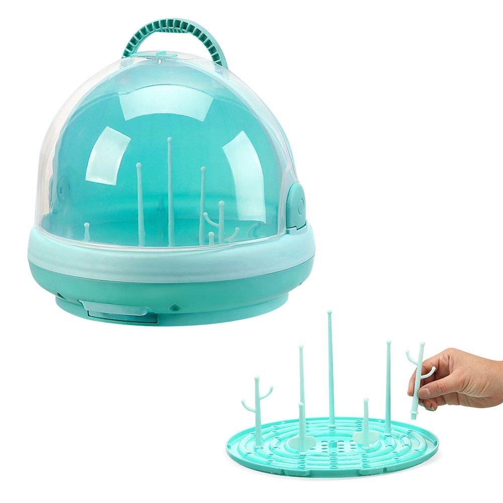 Boîte de rangement polyvalente de voyage avec couvercle anti-poussière pour biberons Égouttoirs pour vaisselle de bébé, tétine, verre, bol, anneau de dentition Comaie