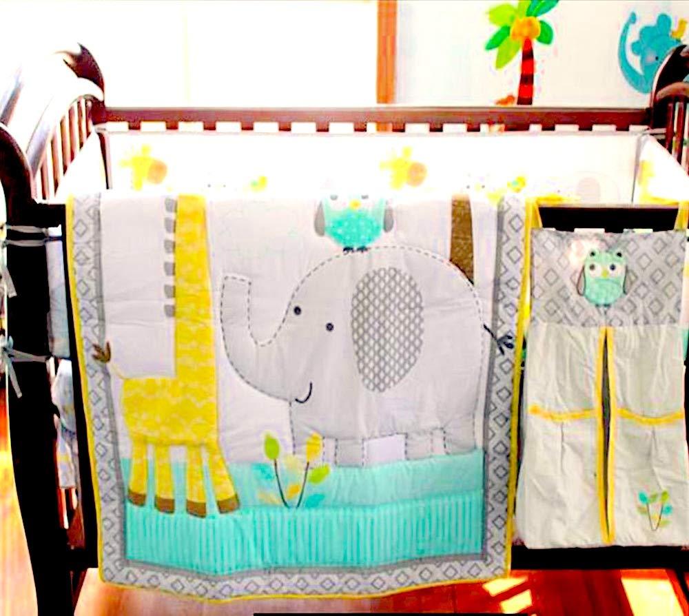 BabyCrib Unique Cute Adorable Elephant, Giraffe, Owl, Yellow and Gray, 10 Piece Bedding Set, Including Crib Bumper, Diaper Stacker, and Bonus Baby Monthly Milestone Blanket for Newborn Baby Boy/Girl.
