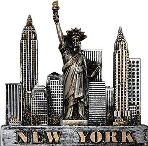 USA Company New York Skyline Metal Pewter Magnet (New York Refrigerator Magnet)