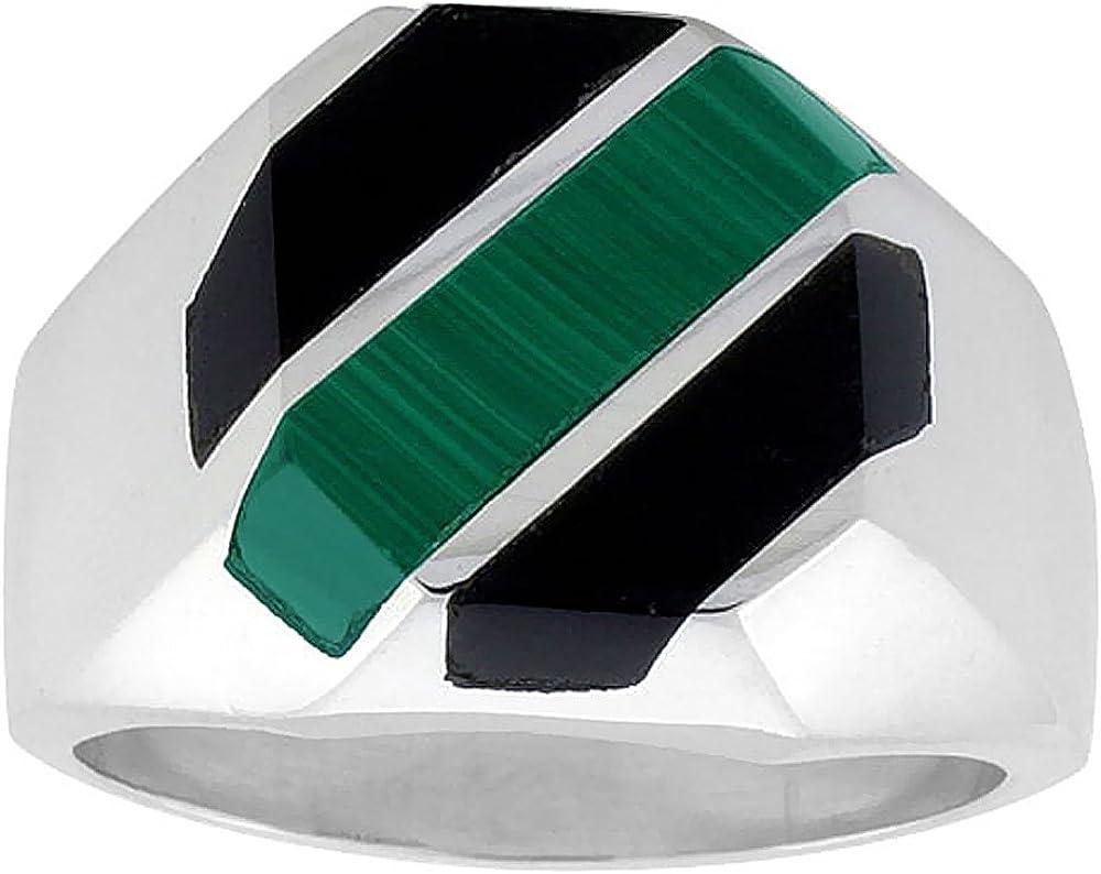 Sterling Silver Black Obsidian & Malachite Ring for Men Octagonal 3 Stripes Solid Back Handmade, Sizes 9-13