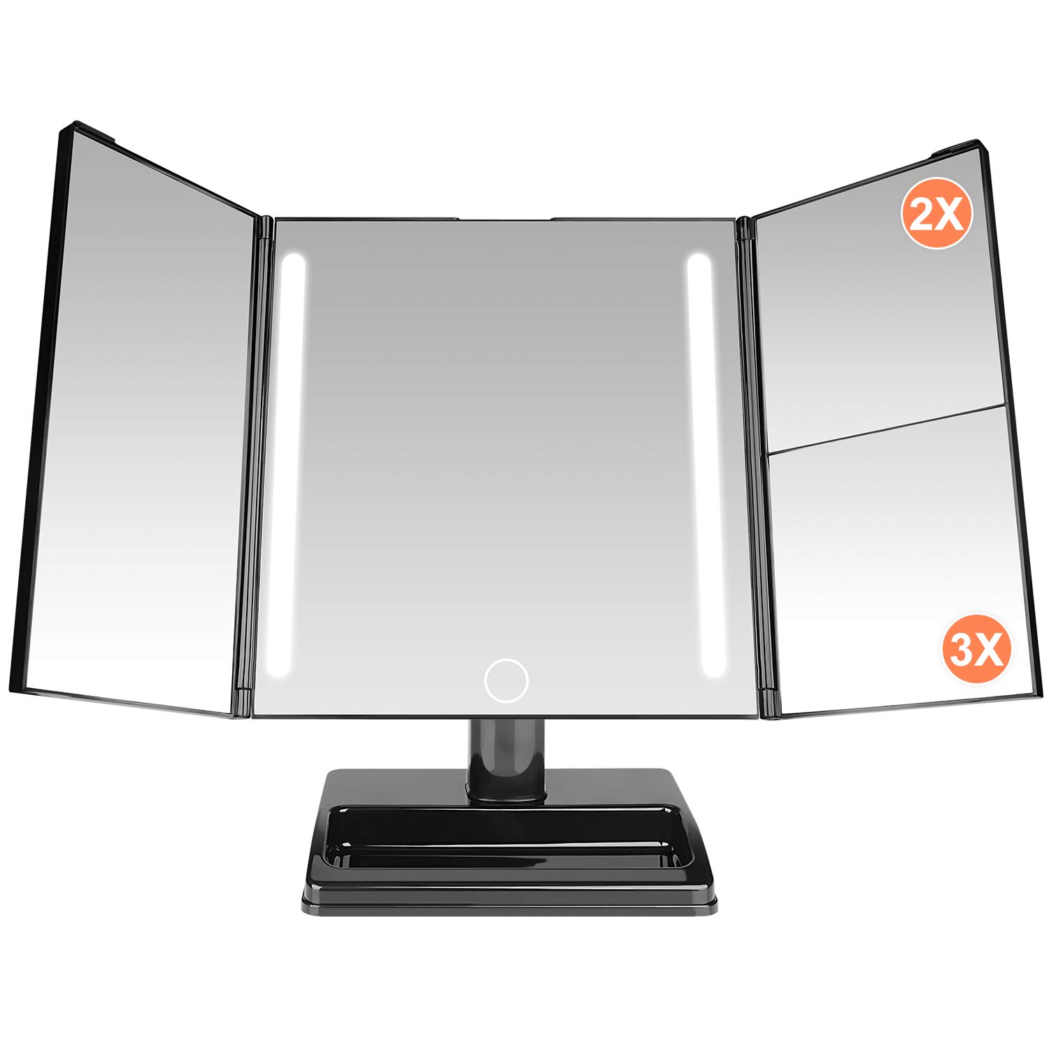 Makeup Mirror, ESEOE 32 Pcs Led Lighted Vanity Mirror with 3x/2x Magnification,360 Degree Adjustable Rotation,Adjustable Brightness Touch Screen,Detachable Tri-fold Cosmetic Mirror with USB Cable