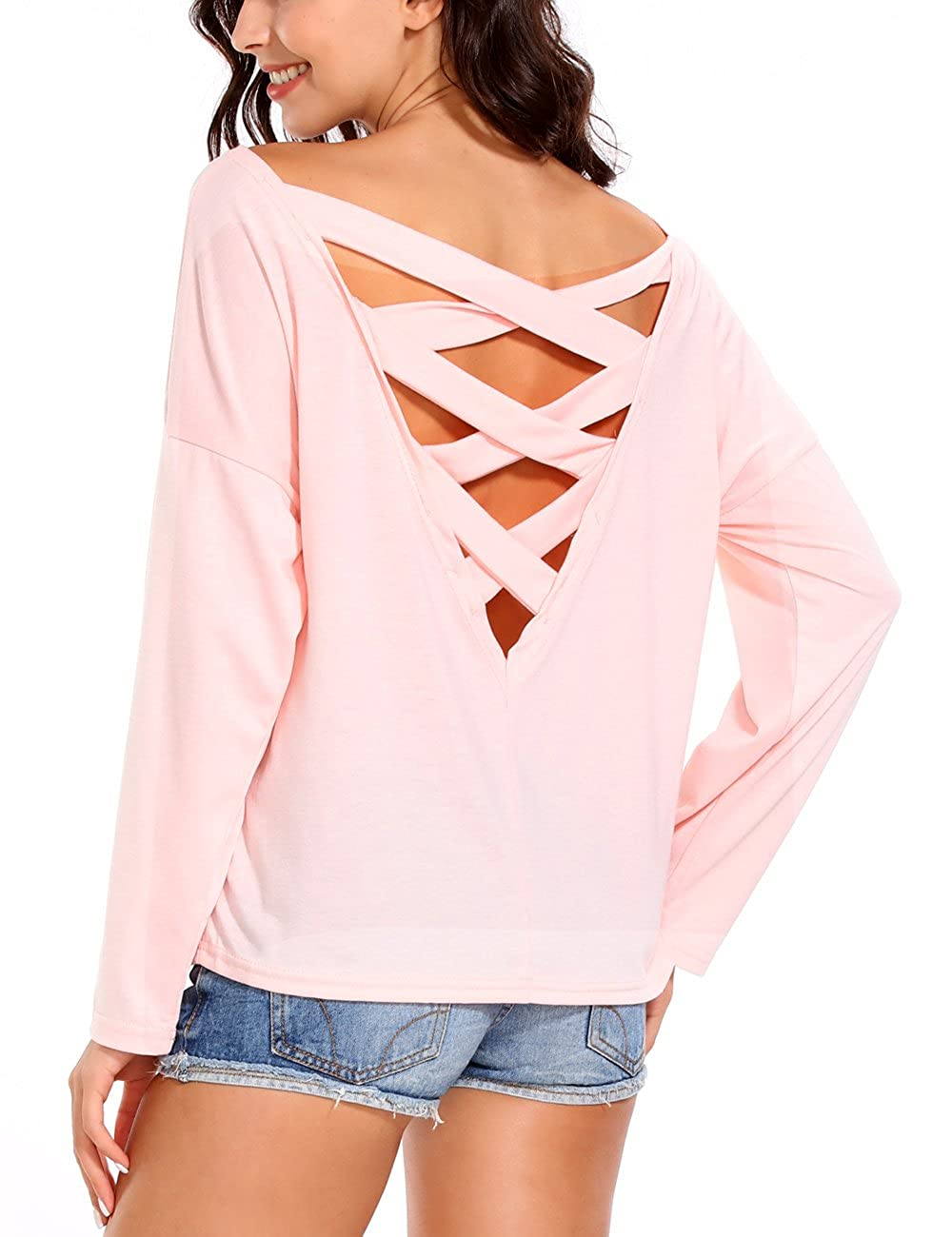 ISASSY Women's Cut Out Loose Pullover Deep V Back Criss Cross Top Tee Blouse