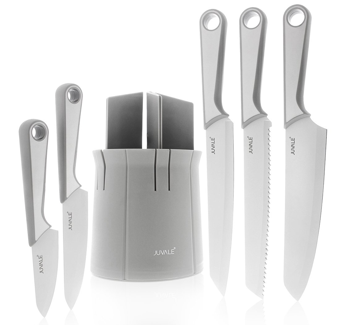 6 Piece Kitchen Knives Set with Protector Cover and Block - Culinary Stainless Steel Blade Knife - Includes Chef, Santoku, Pairing, Bread, Utility - Gift for Mothers, Fathers, Cooks, Chiefs - Grey