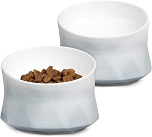 Navaris Raised Stoneware Pet Bowls (Set of 2) - Dog or Cat Feeding Dishes Tilted Elevated Food Water Dish Set for Dogs, Cats, Pets - 8.5oz Each Bowl