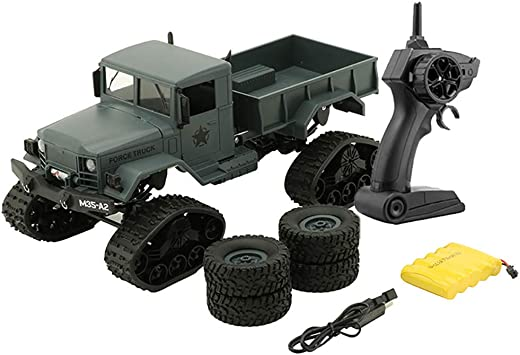 Amazon Com Rc Military Truck Toy Rc Cars 2 4g Remote Control Electric Army1 16 4wd Tracked Wheels Crawler Off Road Car Rtr Vehicle Great Gift New For Children Adults Green Home Improvement