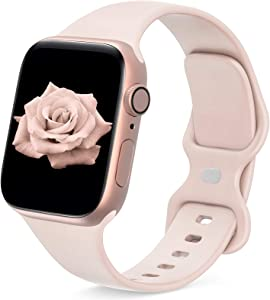 JINGMAX Sport Band Compatible with Apple Watch Band 38mm 40mm for Women Men, Soft Silicone Strap Replacement Wristband for iwatch Series SE/6/5/4/3/2/1 (for 38mm/40mm Pink-Sand)