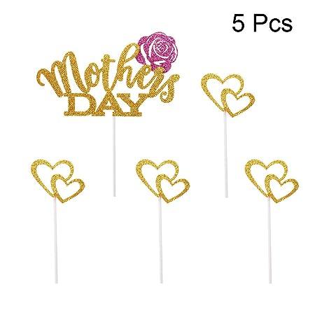 LUOEM 5 unids Día de la Madre Primeros de la Torta Glitter ...