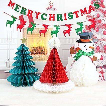 Sogorge Christmas Decorations Paper Christmas tree Christmas hat snowman  Merry Christmas Bunting Banner Flag Christmas Party Decoration( Merry
