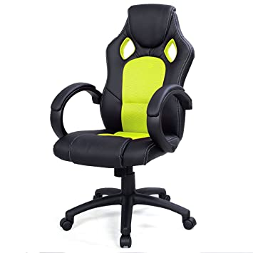 High Back Race Car Style Bucket Seat Office Desk Chair Gaming Chair (Green)