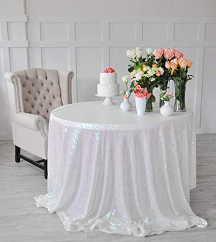 Sensational Shinybeauty Sequin Tablecloth Iridescent White 48Inch Round Sparkle Tablecloth Glitter Table Cloth Sequin Wedding Tablecloth Download Free Architecture Designs Scobabritishbridgeorg