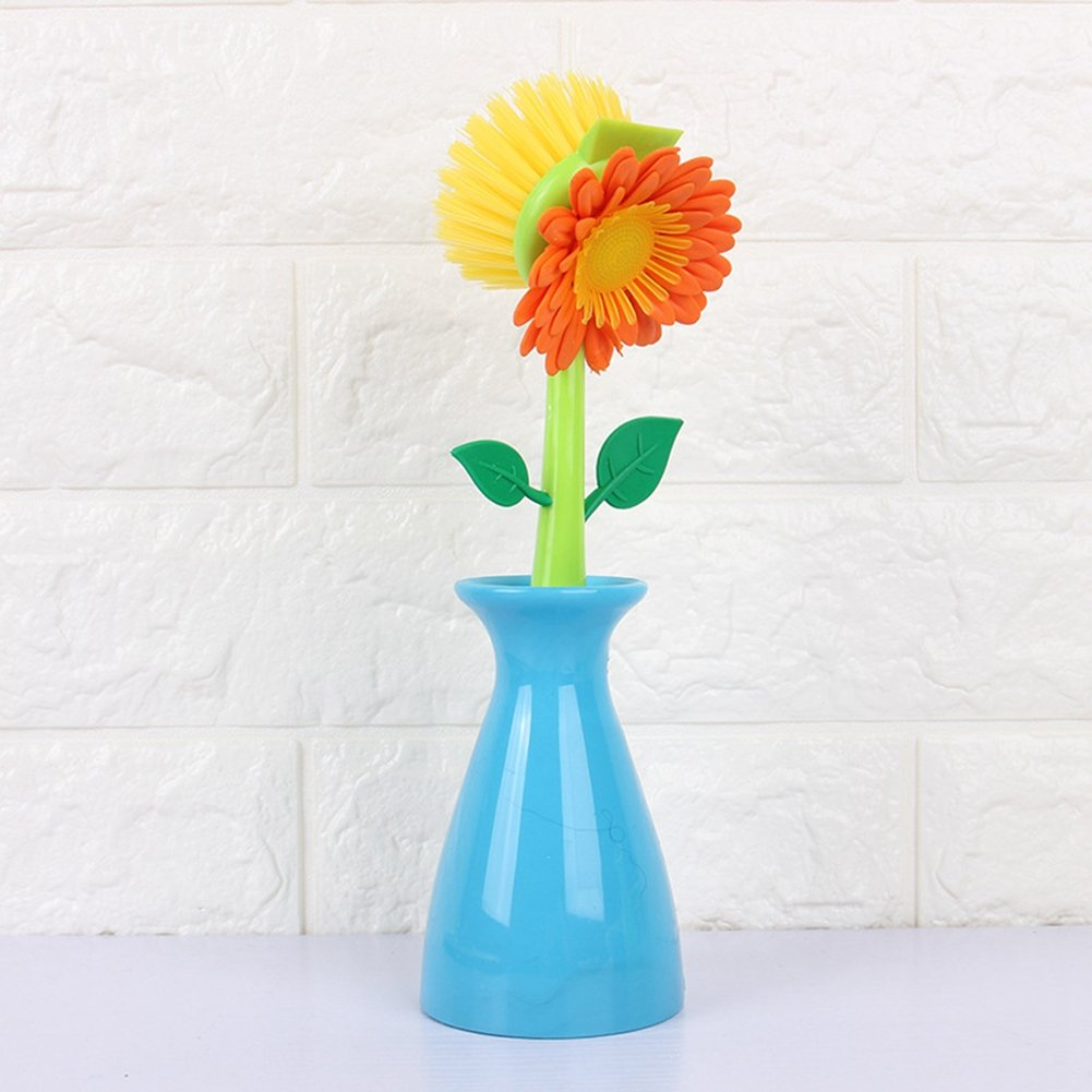 1 Pcs Multi-functional Sunflower Vase Shape Cleaning Tools Strong Decontamination Dishwashing Brushes for Dish Pot Sink Tableware Cutlery Wall Car Kitchen Accessories by BERTERI