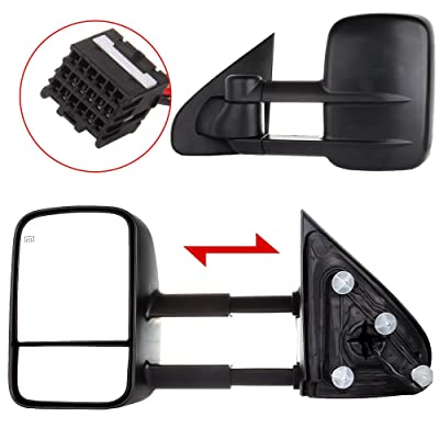 ROADFAR Towing Mirrors Compatible with 1999-2007 Chevy Silverado 1500/2500 HD/3500 2007 GMC Sierra 1500/2500 HD/3500(Just fit 2007 Classic Style) A Pair Towing Mirrors Manual Control: Automotive