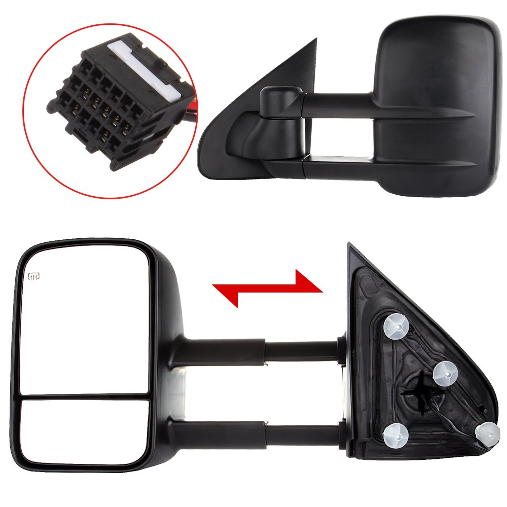 ECCPP Towing Mirrors Replacement fit for 2014-2018 Chevy GMC Silverado Sierra 1500 2015-16 2500 HD 3500 HD Power Heated Mirrors