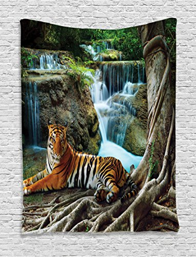Ambesonne Safari Decor Collection Indochina Tiger Lying With Relaxing Under Banyan Tree Against Limestone Waterfalls Picture Bedroom Living Room Dorm Wall