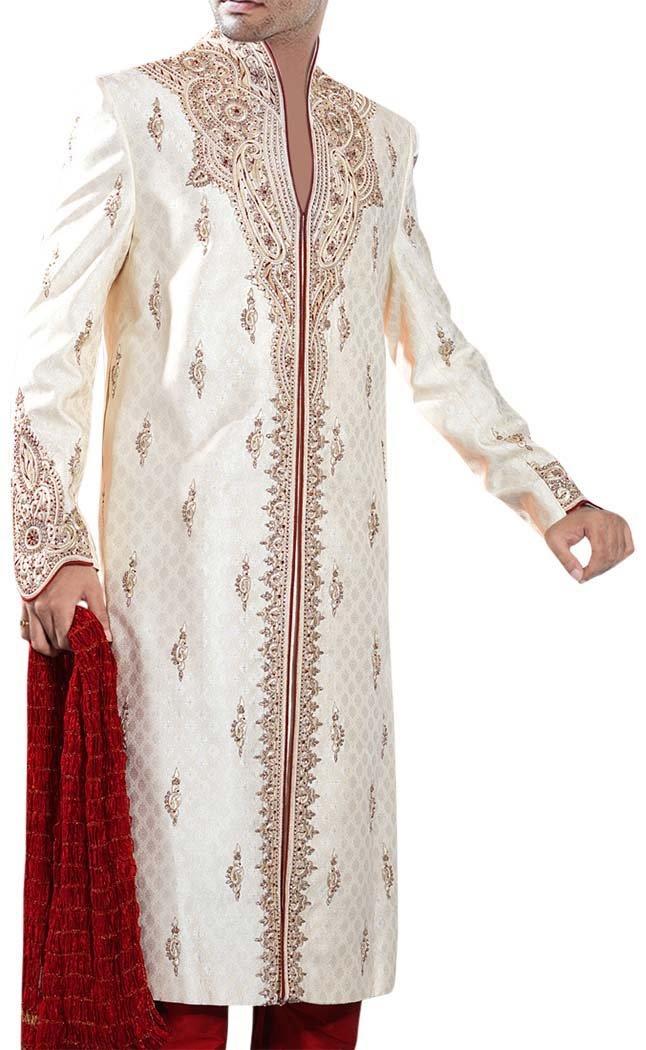 INMONARCH Mens Cream Designer 3 Pc Sherwani Traditional SH340S54 54 Short Cream