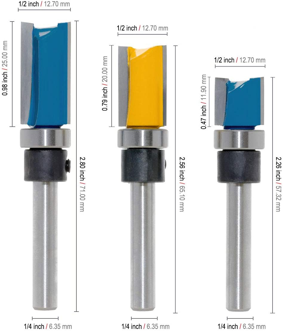 Straight Router Bits 3PCS 1//4 Inch Shank Flush Trim Pattern Template Top Bearing Guide Milling Cutting Wood Working Tool Set