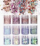 uBook 12 Pack Face Glitter Chunky Glitter Festival Cosmetic Glitter Body Glitter Sparkling Decoration Glitter for Hair and Nails