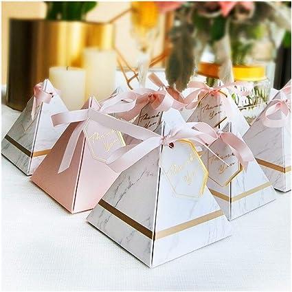 Favores y regalos Suministros Chocolate Box Cajas sorteos del partido Cajas de boda triangular Pirámide de mármol la caja del caramelo (Color : 20 PCS, Gift Box Size : 85x85x90mm): Amazon.es: Oficina