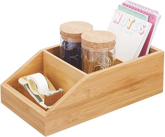 mDesign Caja organizadora grandes de madera de bambú – Organizador de escritorio abierto con 3 compartimentos – Caja de madera ecológica para blocs de notas, clips y demás – color natural: Amazon.es: Hogar