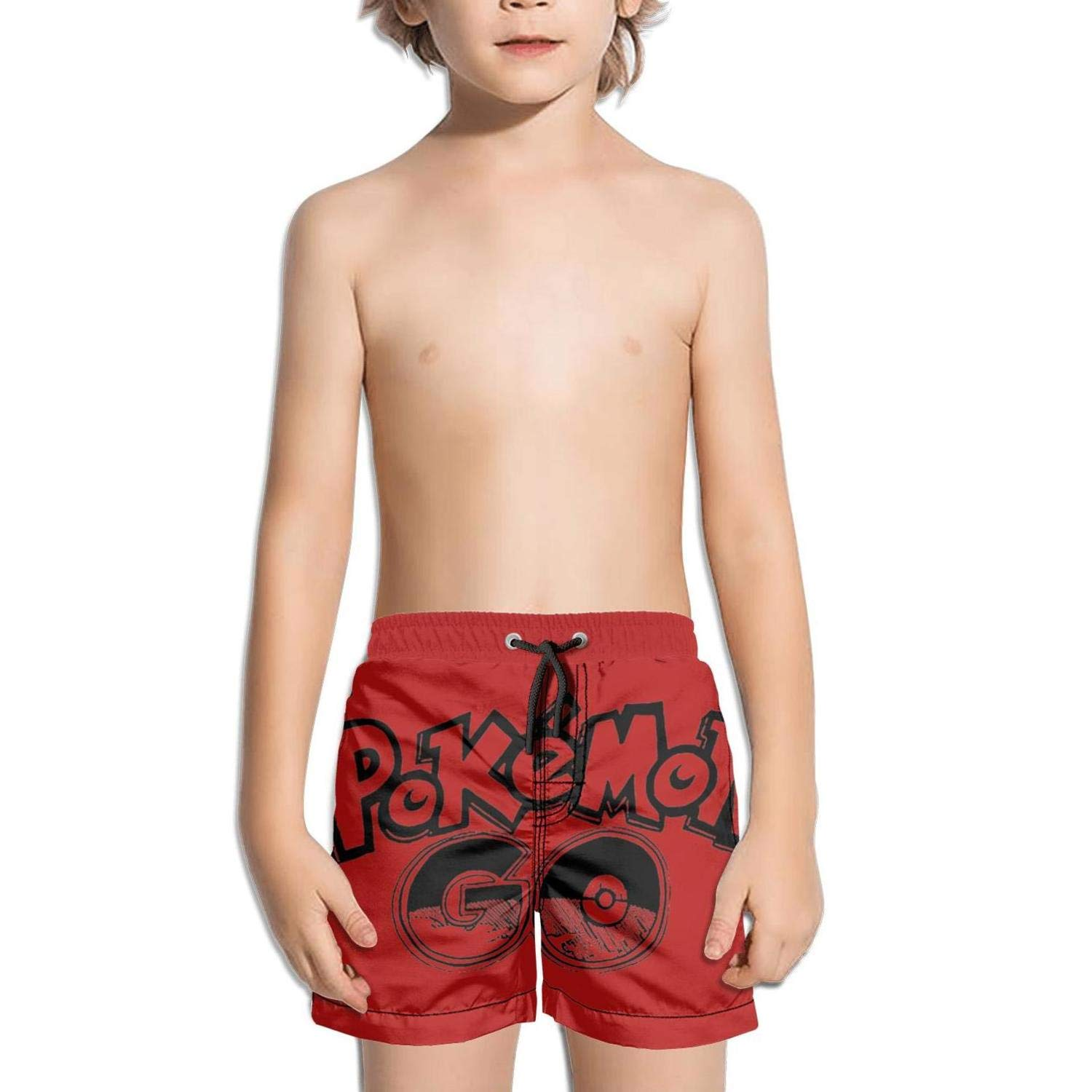 Kids Zipper Side Split Sporty Swimming Trunks Beach Shorts