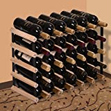 JAXPETY 30 Strong Bottle Holder Wine Rack Complete Wooden Wine Storage Pine Stand