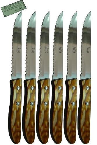 Cuchillos de mesa Celaya Plástico Nácar Marrón Sierra Lote 6 Uds ...