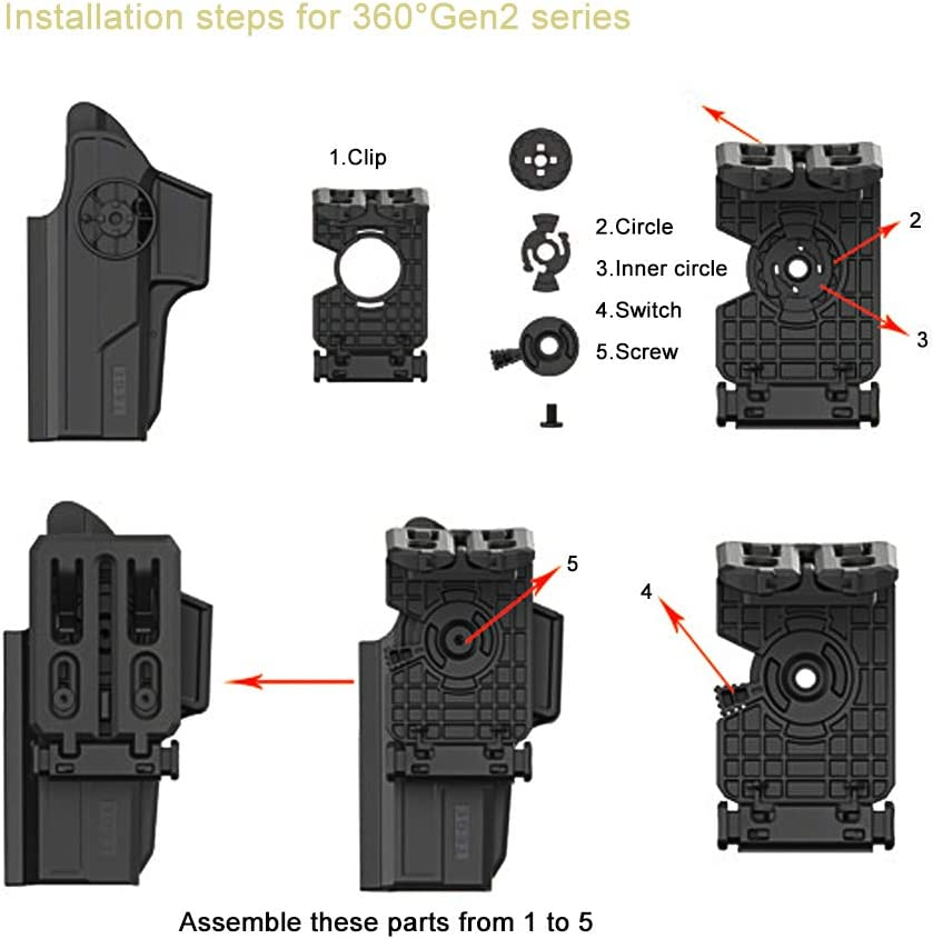 efluky Serie 360 /° Pistolera Belt Clip Accesorios Portacargador Pistola Components Universal para Portacargador /& Pistoleras