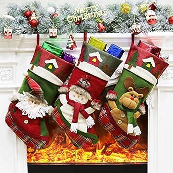 321555d0fadf61 Amazon.com  3 Pcs Set - Classic Christmas Stockings 18