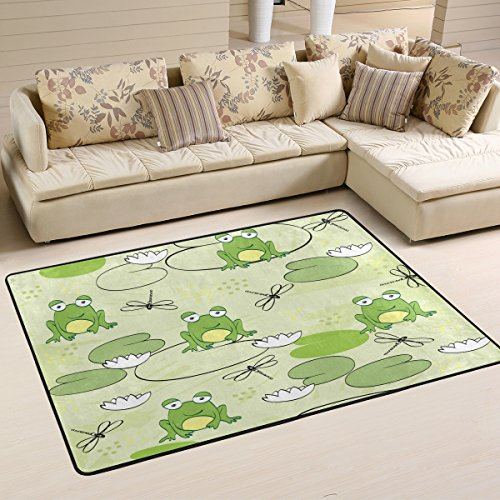 (ALAZA Lovely Frog Dragonfly Lily Area Rug Rugs for Living Room Bedroom 3'x2')