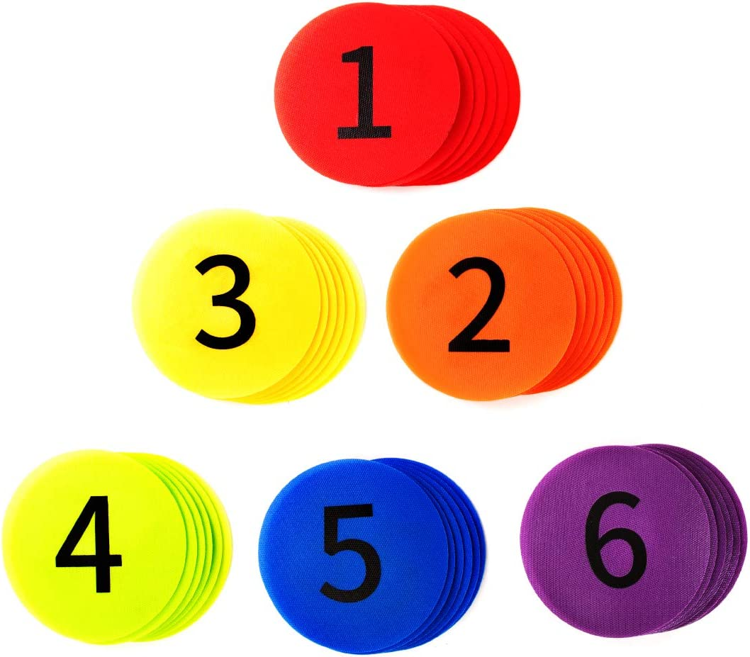 36 Pack Multicolor Numbered 1-36 Classroom Circle Tiles 5.5 Inches B.H Latest Edition Sit Spot Carpet Marker with a Carry Bag