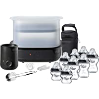 TOMMEE TIPPEE Essentials Starter Kit with Steriliser, Baby Feeding Bottles, Bottle Cleaning Brush and Bottle Warmer