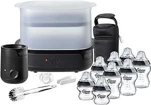 Tommee Tippee Essentials Starter Kit with Steriliser, Baby Feeding Bottles, Bottle Cleaning Brush and Bottle Warmer