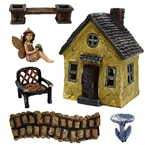 6 Piece Fairy Garden Village Accessories Set Kit Miniature Cottage House With Door, Girl Statue Figurine, Chair, Stone Walkway, Bench With Planter, Birdbath Pick For Terrarium Lawn Patio Outdoor Décor