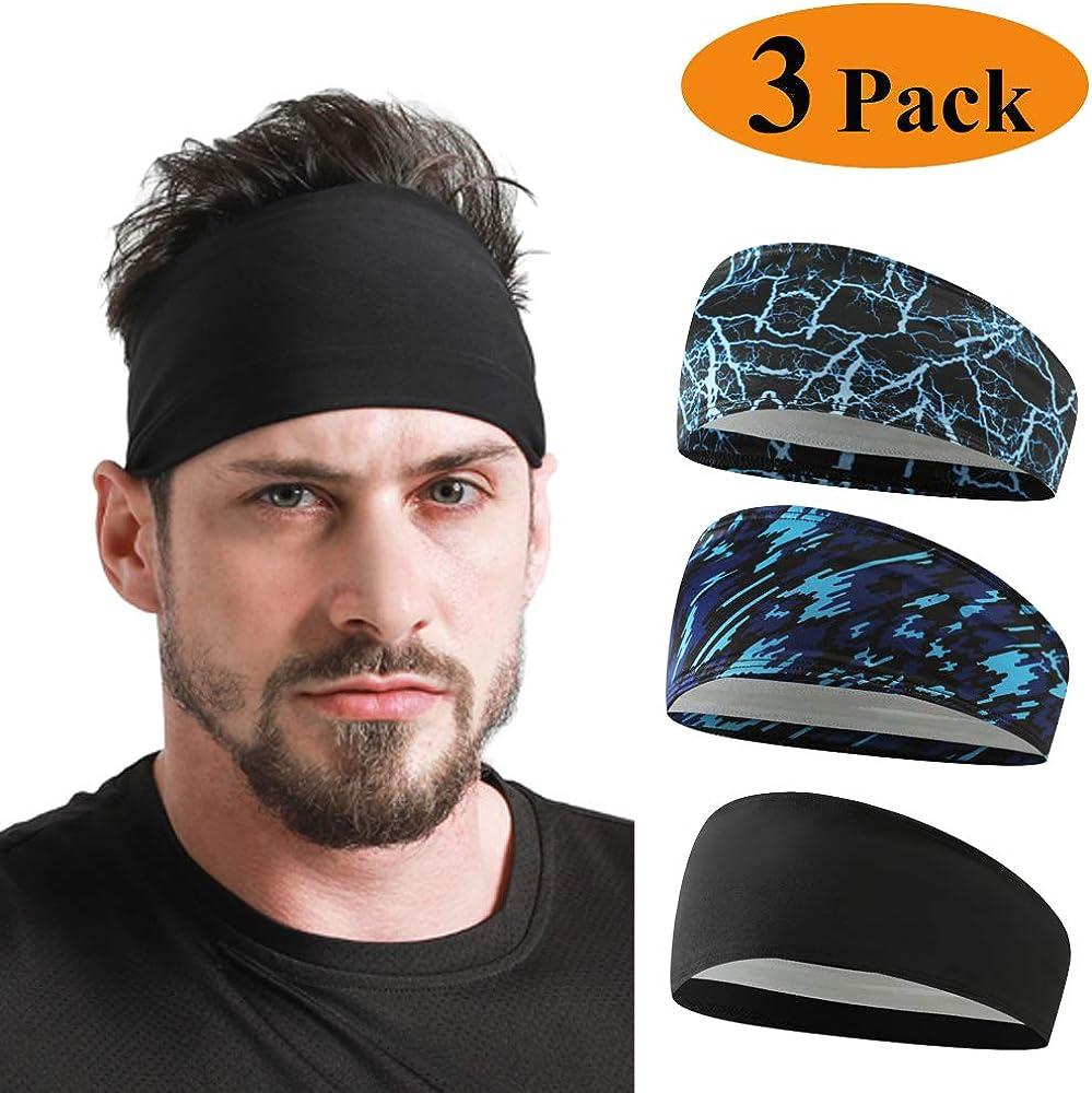 HCHYFZ Sports Headbands Non-Slip Hair Bands Workout Unisex Head Bands for Fitness Yoga Bike Fishing Running