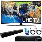 Samsung UN65MU7500 Curved 65 4K Ultra HD Smart LED TV (2017 Model) + HDMI 1080p High Definition DVD Player + Solo X3 Bluetooth Home Theater Sound Bar + 2x HDMI Cable + LED TV Screen Cleaner
