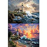 5D DIY Diamond Painting Kit for Adult Full Drill Paint with Diamonds Pictures Arts Craft for Home Decor by INFELING, Lighthourse Design, 34x24cm/13x9inch, Round, Christmas Gift Idea