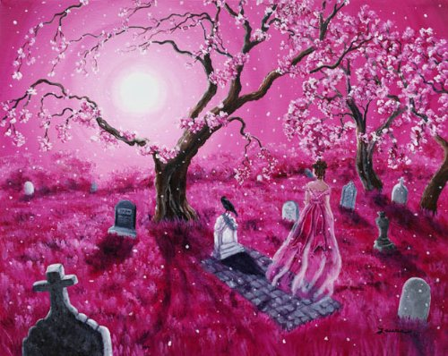 Lenore in the Breaking Dawn Ghost Raven Cemetery Iverson Original Painting on Canvas by Laura Milnor Iverson