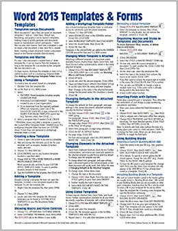 Microsoft Word 2013 Templates Forms Quick Reference Guide Cheat