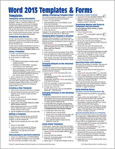 Microsoft Word 2013 Templates & Forms Quick Reference Guide (Cheat Sheet of Instructions, Tips & Shortcuts - Laminated - Microsoft Forms Office Templates