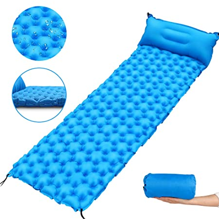 Inflatable Sleeping Pad Ultralight Durable with Attached Pillow for Hiking, Backpacking, Hammock, Tent Travel, Windproof Camping Mat Blue