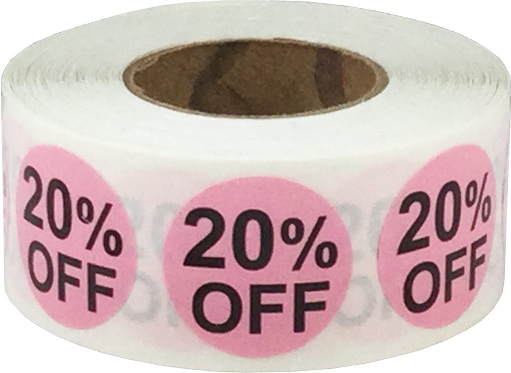 Rosa 20% di Sconto Punto Adesivi, 19 mm 3/4 Pollice Rotondo, 500 Etichette su Rotolo InStockLabels.com