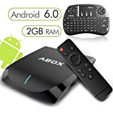 [Gratuit Mini Clavier Sans fil]Android 6.0 TV Box 2 Go/16 Go, 2017 Modèle Globmall ABOX A2 Amlogic 64 Bits Quad Core Smart TV Box Support Réel 4K Bi-Bande WiFi 2.4 GHz/5 GHz Bluetooth 4.0