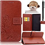 Samsung Galaxy S4 Case, Bonice 3 in 1 Accessory PU Leather Flower Pattern Flip Practical Book Style Magnetic Snap Wallet Case with Premium Multi-Function Design Cover + Stylus Pen + Diamond Lovely Bear Rhinestone Antidust Plug, Brown